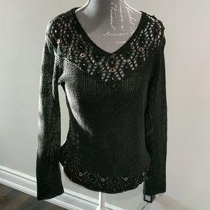 BCBG maxazria black knit and beaded top